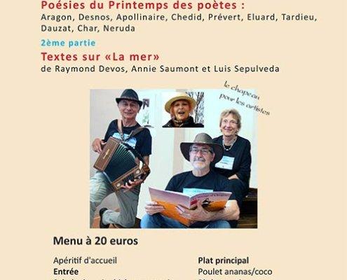 """Soirée lectures musicales poésies du printemps des poètes et Textes sur """"La mer"""""""