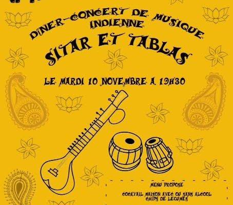 Diner-concert de musique indienne sitar et tablas Novembre 2015