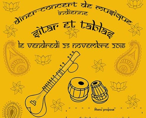 Diner-concert de musique indienne sitar et tablas Novembre 2016