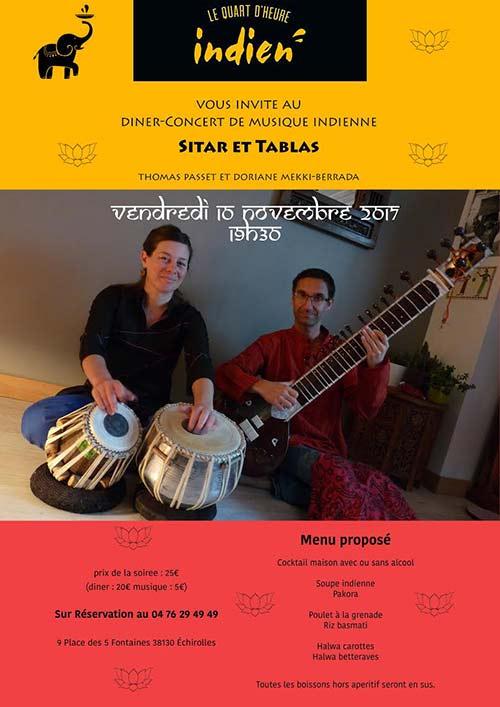 Diner-concert de musique indienne sitar et tablas Novembre 2017